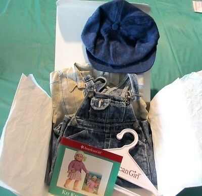 Retired American Girl Kit Overall Outfit With Pamphlet Hanger Box, NEW