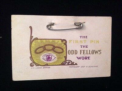 Vintage 1900's Postcards - First Pin The Odd Fellows Wore