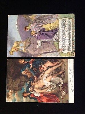 Vintage 1900's Postcards (6) Religous includes 1- 3D made in Japan