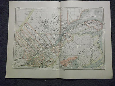 "Antique Original 1890 Quebec 10"" x 14"" Multicolor Map"