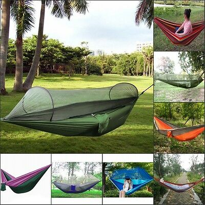 Portable Travel Camping Outdoor Hammock Swing Hanging Nylon Bed w/ Mosquito Net