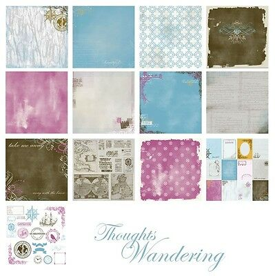 THOUGHTS WANDERING Kit 6 Dbl Sided Paper 1 side Journal + DieCut 12x12 Manor Hse