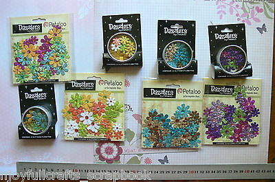 32 Glittered Florettes DAZZLERS - 4 Different Colours 15-25mm Petaloo Multi List