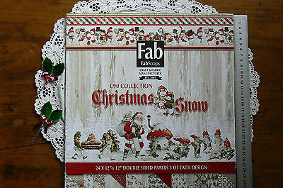 CHRISTMAS SNOW 12x12 Pk - 24 Dbl Sided Papers 3 of each 8 designs by Fab Scraps