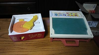 Lot of 2 Vintage Fisher Price Toys School Days Desk Music Box Record Player