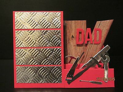 Handmade  3D Birthday/Father's Day Side step card -tool cabinet, PERSONALISED