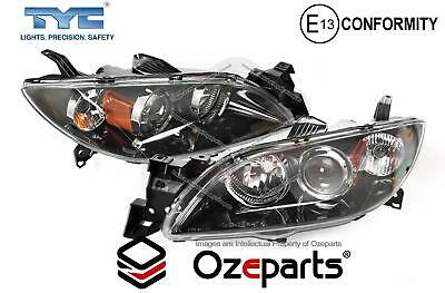 Mazda 3 BK SP23 2003~2009 4 Door Sedan Pair LH+RH Head Light Front Lamp Black
