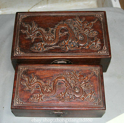 """12"""" Old Chinese Palace Red Wood Carved Dragons 2 Pcs Chest Box Jewelry Box Set"""