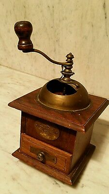 Coffee Kaffee Grinder With Drawer Brass Pull Handle Brass Dome VGUC Germany (?)