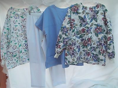 lot of 4 scrubs button v-neck lab coat top shirt jacket white pants SS LS 2X