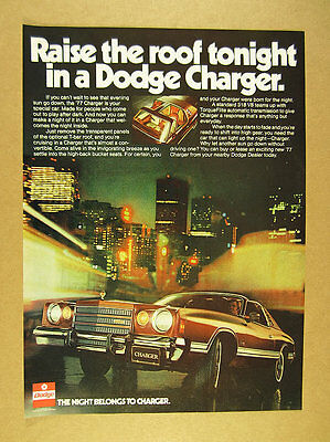 1977 Dodge Charger T-Bar Roof car photo vintage print Ad