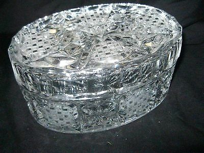 "Oval Crystal Box w Fitted Lid Checker Cut Design 7"" Long Trinket Jewelry Candy"