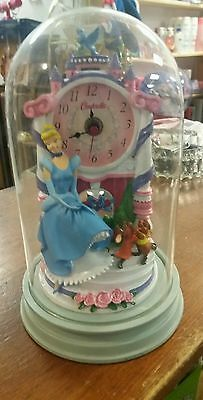 Cinderella Disney Jaq Gus Glass Dome Sculpted Resin Anniversary Clock Figurine