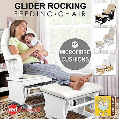 Baby Breast Feeding Sliding Rocking Wood Nursery Chair Ottoman Recliner Cushion