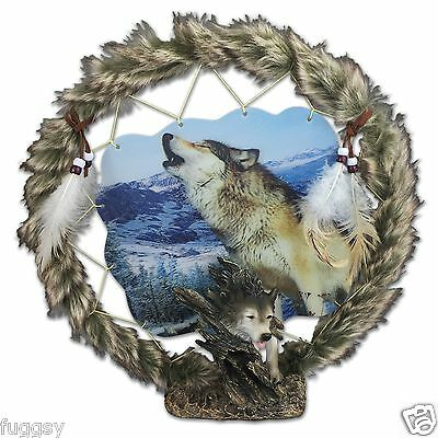 Wolf Head Dreamcatcher Ornament/Plaque with Holographic Artwork Statue NEW