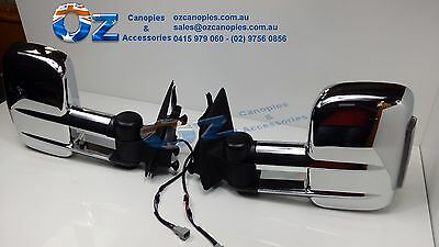 ISUZU D MAX Retractable Towing mirror PAIR CHROME w/CLEAR indicator NEW 2012 ON