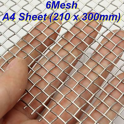 6 Mesh 316 Grade Stainless steel Woven Wire Super Heavy Duty A4 Sheet 21 x 30cm