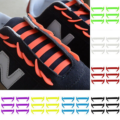 12 Silicone Elastic Shoelaces No Tie Laces Shoe Running Walking Sneakers Strings