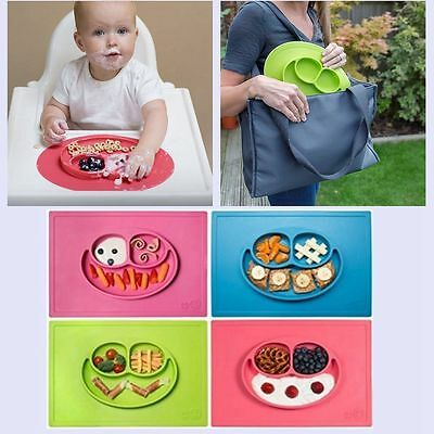 Happy Ezpz One-Piece Silicone Child Kids Safe Baby Food Divided Bowl Placemats