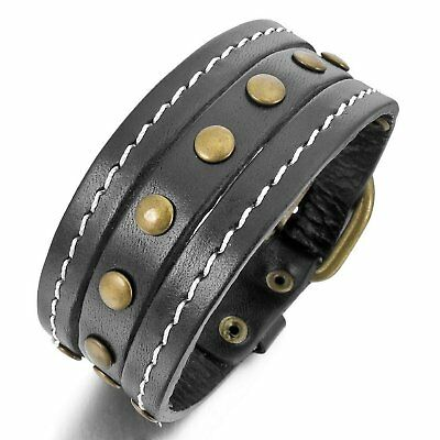 MENDINO Men's Cuff Belt Wristband Bangle Buckle Black Alloy Leather Bracelet