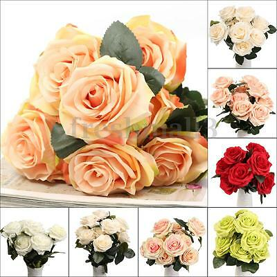 10 Head Fake Artificial Silk Rose Flower Bouquet Bridal Home Wedding Party Decor