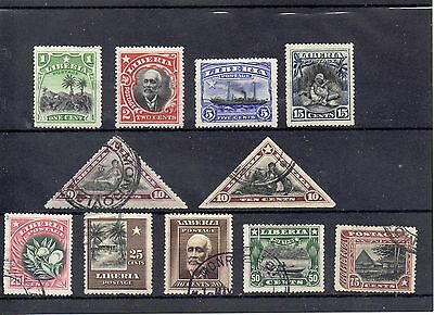 LIBERIA 1909  SG 250 to 252 + 255 m/m + 254 - 256 to 260 used