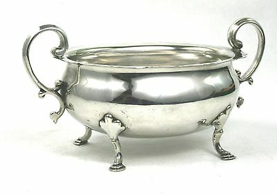 Antique Victorian Silver Plated Sugar Bowl Large 4 Footed Twin Handled c.1872-96