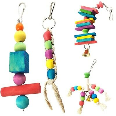 Parrot Pet Bird Chew Cages Hang Toys Wood Large Rope Cave Ladder Bells Chew Toy
