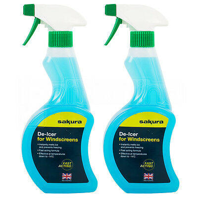 2 x Car Winter Snow Frost Trigger DeIcer Windscreen Fast Acting Melts Ice 500ml