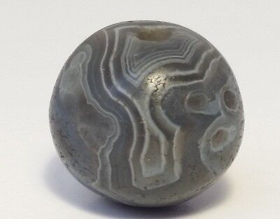 14.5mm ANCIENT RARE BANDED WESTERN ASIAN AGATE EYE BEAD