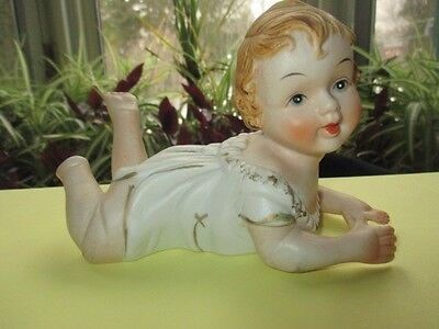 Precious Sweet Bisque Doll Piano Baby Learning To Crawl Japan