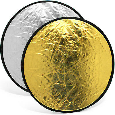 "60cm (24"") 2-in-1 Collapsible Round Disc Studio Light Reflector - Gold & Silver"