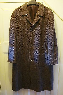 Vintage Maculette Mens Wool Winter Coat Overcoat Herringbone  Large - Xl Rare