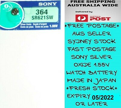 1 PCS SONY SR621SW 364 1.55V Silver Oxide Battery Made in Japan Use By 09/2021