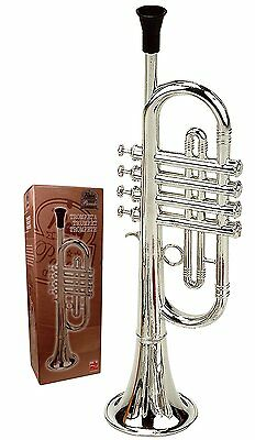 Deluxe Trumpet Silver Kids Musical Instrument Children Horn Educational Toy Gift