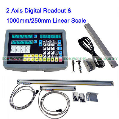 2 Axis CNC Digital Readout with TTL Linear Scale DRO Kit  LCD Display 9x46 Lathe