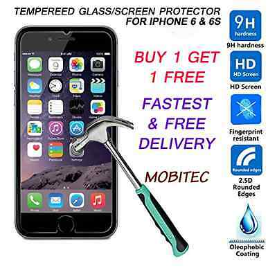100% Genuine Tempered Glass Screen Protector For Apple Iphone 6 & 6S Uk Stock