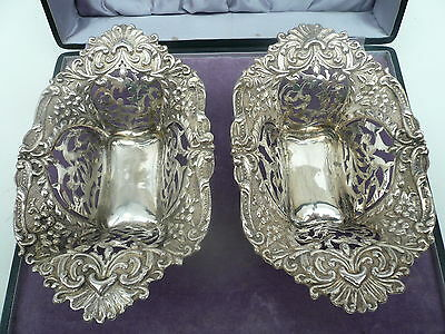 Silver Baskets Dishes, Sterling, Antique, English,Hallmarked 1902, Walker & Hall