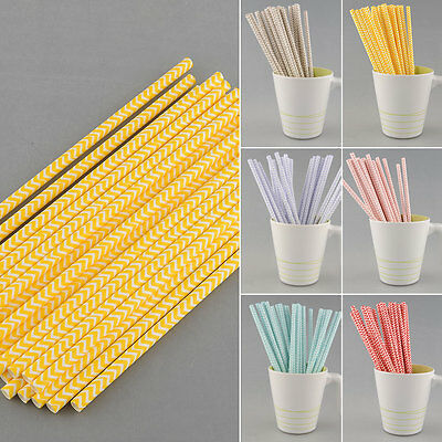 25 PCS Chevron Striped Paper Drinking Straws For Wedding Birthday Prom Supply