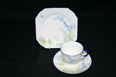 Lovely Art Deco Shelley Trio - Bluebell Pattern 11767 - Cup, Saucer, Side Plate