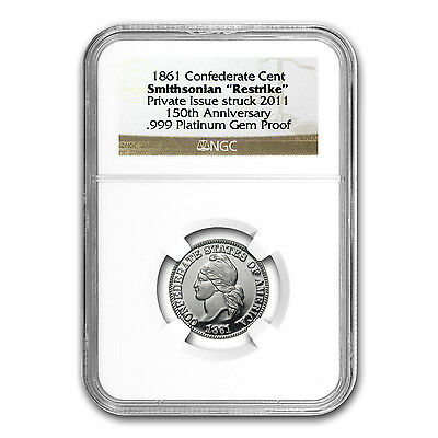 1/4 oz Platinum Round - 1861 Confederate Cent Gem Proof NGC - SKU #86704
