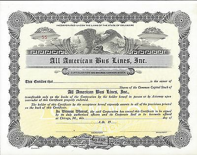 All American Bus Lines Inc.......unissued Stock Certificate