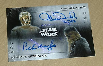 2015 Topps Star Wars Force Awakens autograph dual Anthony Daniels/Peter Mayhew/3