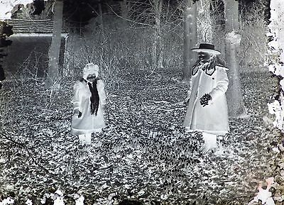 6 Glass Photographic Negatives Of People In Period Dress - Early 1900's