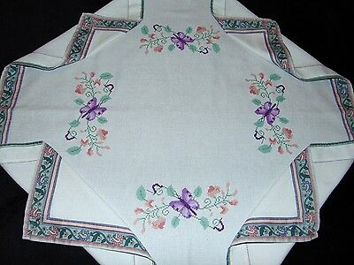Vintage Hand Embroidered Butterfly Sweet Pea, Victorian Trim Edged Tablecloth