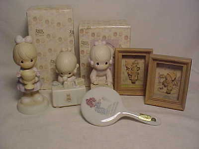 Precious Moments Enesco Lot 3 Figurines, Mirror, 2 2 Dimensional Wood Pictures