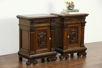 Pair Carved Italian 1920 Antique Walnut Nightstands, Signed Santi, Rome