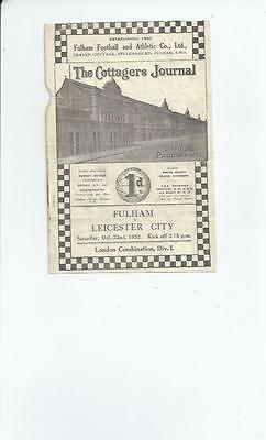 Fulham v Leicester City London Combination Football Programme 1932/33