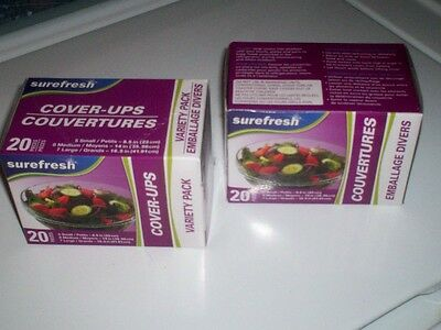 """""""""""""""ELASTIC  FOOD BOWL COVERS""""""""""""  2 Boxes 40 covers ELASTIC WRAP FOR SNUG FIT!!"""