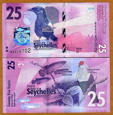Seychelles, 25 rupees, 2016, P-New, Completely Redesigned, UNC > Birds, Fish